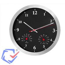 """Reloj de pared con termómetro e higrómetro 14"""" Negro Cocina Despacho Hogar"""
