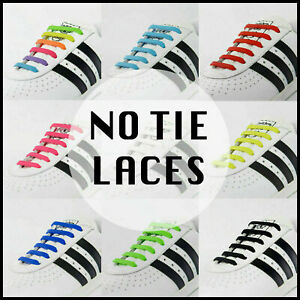 Elastic Shoe Laces No Tie Silicone Rubber Shoelaces trainers shoes Adults & Kids
