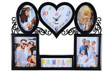 Heart Shape Wall Clock, 5 Multi Photo Picture Frame Wall Hanging  - Black