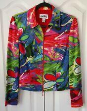 Joseph Ribkoff Multi-color Jacket Coat Blazer Zip Zipper Front Floral  Size 6