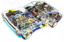 Ford Capri 1972 RS2600 Racing car cutaway promo poster