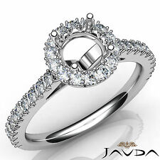 Diamond Engagement Round Semi Mount French Cut Pave Set Ring 14k White Gold 1Ct