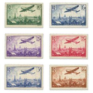 FRANCE PA N°8 À 13 AVION SURVOLANT PARIS, TIMBRES NEUFS-1936