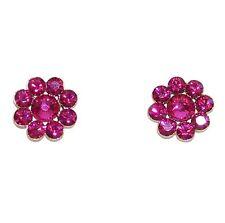 "Tarina Tarantino Fuchsia Flower ""Tarina Pink"" Crystal Earrings 1/2"" Made in USA"