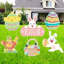 Gp Life 6 Pcs Easter Yard Signs Outdoor Lawn Decorations Bunny Yard.