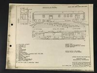 Vintage Union Pacific Railroad Passenger Equipment Diagram Baggage & Postal Car