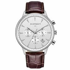 District London Men's Designer Brown Watch Leather Strap & Silver Face Sub Dials