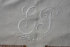 Drap 2 ancien en lin monogramme GP 210 X 290 Cm  jour  NEUF jamais lavé