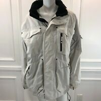 Triple Nickel 555 L Snowboarding Jacket Mens White Hooded Cargo Pockets Snow