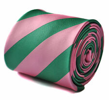Frederick Thomas pink and green barber stripe mens tie FT1714