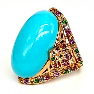 Meher's Jewelry 28.12ctw Turquoise & Multi Gemstone Rose Vermeil SS Ring