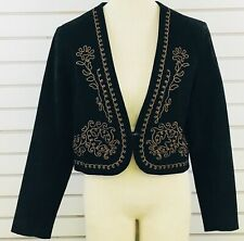Womens 10 Scully Bolero Jacket Black Suede Leather Tan Embroidery Trim 1 Button