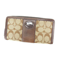 Coach Wallet Purse Long Wallet Signature Beige Brown Woman Authentic Used Y3604