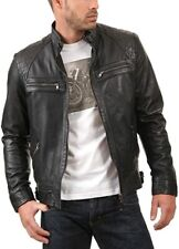 Mens Leather Jackets Motorcycle Quilted Biker Black Real Leather Jacket Men