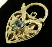 K041 Genuine 9K Yellow, Rose or White Gold Natural Topaz Heart PADLOCK Clasp