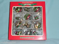 Radko Shiny Brite Christmas Set of 12 Small Ball Top Beehive Glass Ornaments