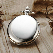 Smooth Silver Men Women Quartz Pocket Watch Necklace Chain Roman Number Dial