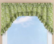 Ruffled Swag Window Valance Curtain Sage Green Leaf Country Cottage Farmhouse