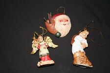 """Santa and 2 Angels Christmas Tree Ornaments about 2 1/2"""" Tall"""