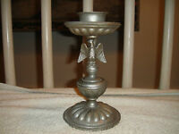 Vintage Dilly Pewter Candle Holder American Eagle Stem Ruffled Bottom