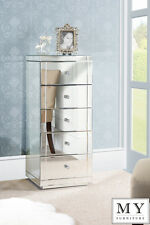 Mirrored Furniture Tallboy Chest 5 Drawers with Plinth (ID:19030)