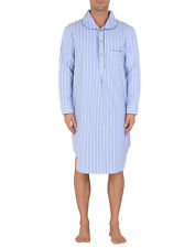 AMBASSADOR Nightshirt Size XL Striped & Herringbone Half Button Peter Pan Collar