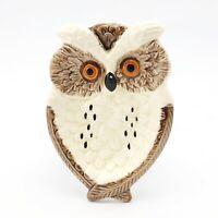 Vintage Enesco Small Trinket Dish Owl, White Brown & Orange 70s Retro