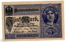 GERMANY Allemagne Billet 5 MARK 1917 WWI P56 NEUF UNC