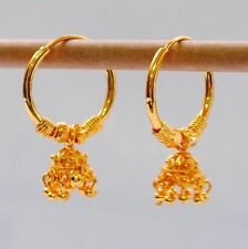 "Stunning 22k Yellow & white ""Gold Plated Small Hoop Earrings.25mm Indian Style"