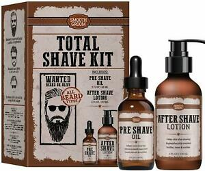 Smooth Groom DELUXE Total Shave Kit Pre Shave Oil and After Shave Lotion