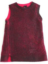EDUN Tank Top UK 6 8 Womens Pink Black Wax Sleeveless Knitted Wool Vest Ethical