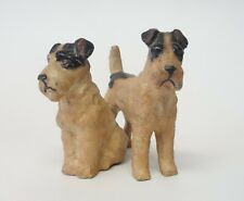 Antique Vintage Cold Painted Metal Fox Terrier Dogs Miniature Figurine Germany