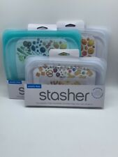 Lot of 3 Stasher Reusable Silicone Food Snack Bag Clear Teal & Clear Sandwich