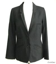 COTELAC JACKET LONG SLEEVES BLAZER WOOL & COTTON GRAY BLACK T 1 = 38 EXCELLENT