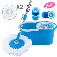 Microfiber Spinning Magic Spin Floor Mop with Bucket 2 Head 360° Rotating Blue