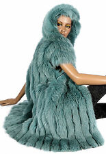XL Pelzweste Kapuze hood fox fur lining vest Weste Pelz Fuchs Türkis federleicht