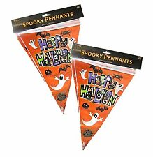 24ft (2 packs) HAPPY HALLOWEEN PARTY SPOOKY BUNTING DECORATION GHOST PENNANTS