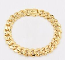11mm Miami Cuban Royal Link Box Clasp Plain Shiny Bracelet Real 10K Yellow Gold