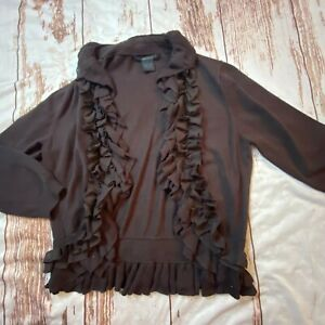 Katherine Barclay womens ruffled cardigan sweate-brown-size Lg-guc
