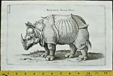 Lg.Engraving of Rhinoceros,Hornnose,Merian Engraving,ca.1650