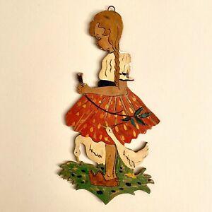 1940er Laubsägearbeit 21cm Alte Berufe Gänsemagd Wand Figur Kind Mädchen VINTAGE