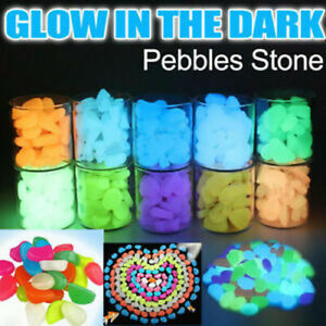 100pc Glow in the Dark Pebbles Stone Shiny Home Garden Aquarium Fish Tank Decor