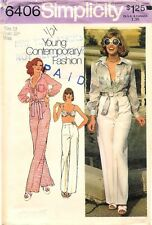 Vintage Simplicity # 6406 Sewing Pattern Misses' Shirt Bra-Top And Pants Size 12