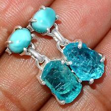 Neon Blue Apatite & Larimar 925 Sterling Silver Earring - Stud Jewelry AE171148