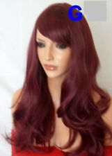 VINO Rosso Adulto Parrucca Naturale Ondulata Costume Moda Donna Parrucca di capelli G16