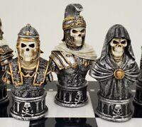 Medieval Times Skull Busts Gothic Fantasy Skeleton Chess Men Set - NO BOARD