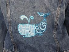 Repurposed Denim Jacket / Machine Embroidered and Applique Whale