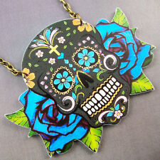 Sugar Skull Day of the Dead Tattoo Blu Necklace Kitsch Rockabilly Psychobilly