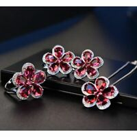 925 Sterling Silver Necklace Earrings Ring Set Ruby Gemstone Jewelry Sets Flower