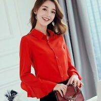 Loose Fashion Ladies Chiffon Long Sleeve Women Summer Blouse Shirt T-Shirt Top